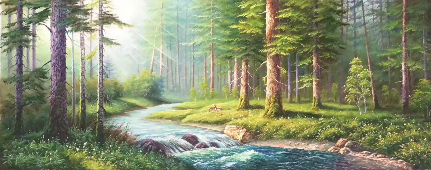"""American style Hand painted oil painting on canvas""""forest""""70x180CM(27.6""""x70.9"""")Unframed-16"""