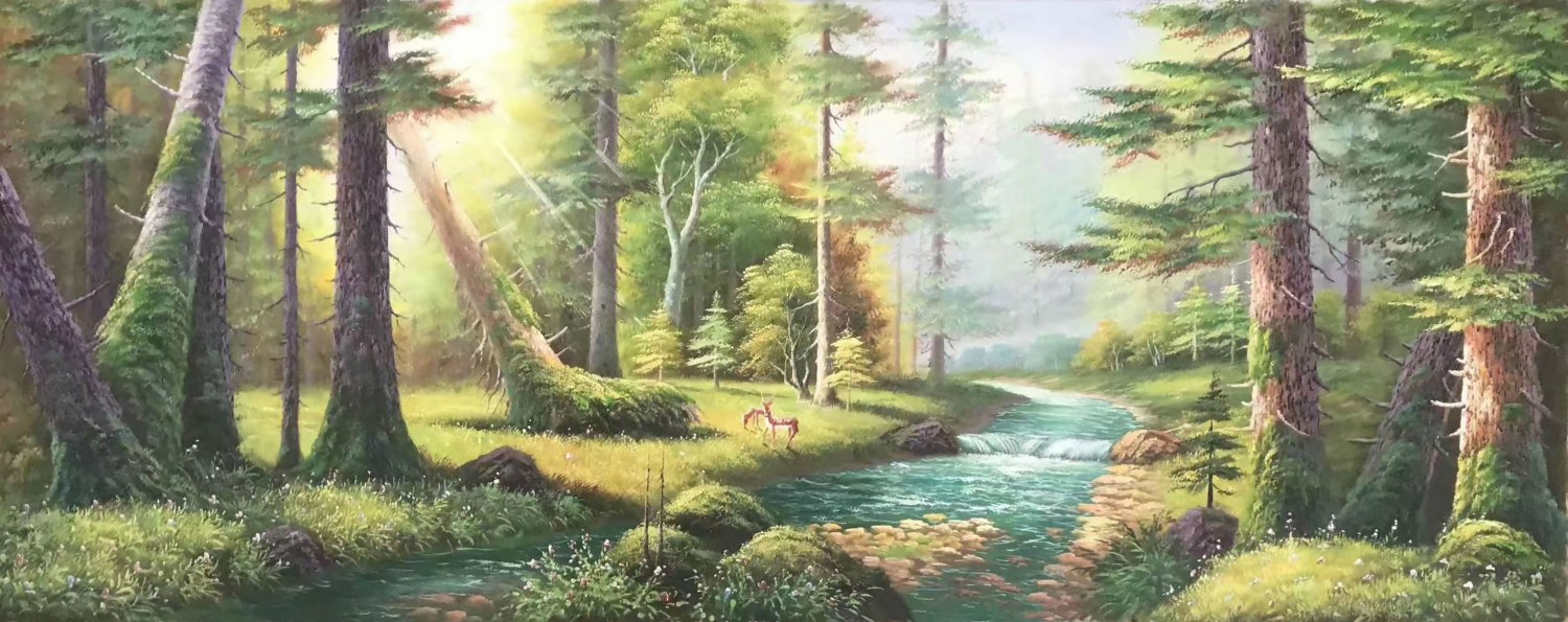 "American style Hand painted oil painting on canvas""forest""70x180CM(27.6""x70.9"")Unframed-19"