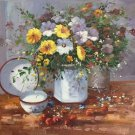 """Simple modern Hand painted oil painting on canvas""""Potted flowers""""50x60CM(19.7""""x23.6"""")Unframed-08"""