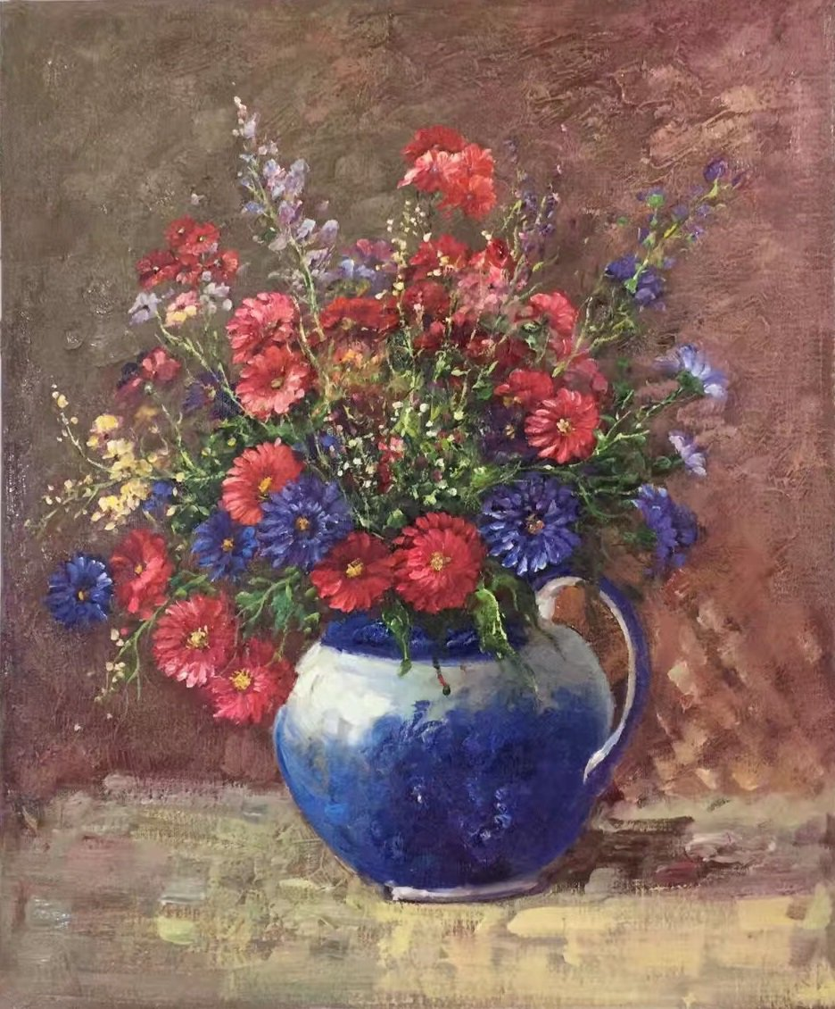 "Simple modern Hand painted oil painting on canvas""Potted flowers""50x60CM(19.7""x23.6"")Unframed-09"