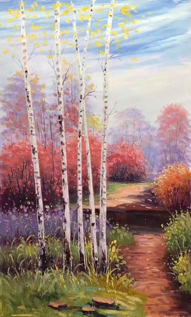 "Nordic style Hand painted oil painting on canvas""forest"":60x90CM(23.6""x35.4"")Unframed-21"