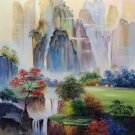 """Hand painted oil painting on canvas""""Mountains and rivers unlimited""""60x90CM(23.6""""x35.4"""")Unframed-10"""