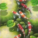 """Chinese style Hand painted oil painting on canvas""""carp""""60x120CM(23.6""""x47.2"""")Unframed-01"""