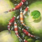 """Chinese style Hand painted oil painting on canvas""""carp""""60x120CM(23.6""""x47.2"""")Unframed-02"""