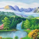 "American style Hand painted oil painting on canvas""Shangri-La""120x320CM(47.2""x126.0"")Unframed-35"