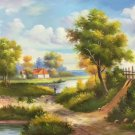 """Hand painted oil painting on canvas""""Image of the countryside""""50x60CM(19.7""""x23.6"""")Unframed-16"""