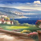 "Hand painted oil painting on canvas""Sea view Villa""70x180CM(27.6""x70.9"")Unframed-33"