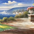 """Hand painted oil painting on canvas""""Sea view Villa""""70x180CM(27.6""""x70.9"""")Unframed-34"""