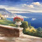 "Hand painted oil painting on canvas""Sea view Villa""70x180CM(27.6""x70.9"")Unframed-35"