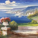 "Hand painted oil painting on canvas""Sea view Villa""70x180CM(27.6""x70.9"")Unframed-37"