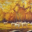 "Simple modern Hand painted oil painting on canvas""Sheep""70x180CM(27.6""x70.9"")Unframed-04"