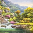 """American style Hand painted oil painting on canvas""""Creek""""70x180CM(27.6""""x70.9"""")Unframed-46"""