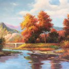 """Hand painted oil painting on canvas""""Creek""""60x90CM(23.6""""x35.4"""")Unframed-49"""