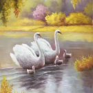 """Simple modern Hand painted oil painting on canvas""""swan""""60x90CM(23.6""""x35.4"""")Unframed-07"""
