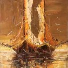 """Hand painted oil painting on canvas""""Fishing boat""""30x60CM(11.8""""x23.6"""")Unframed-07"""