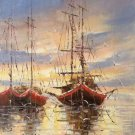 """Hand painted oil painting on canvas""""Fishing boat""""30x60CM(11.8""""x23.6"""")Unframed-09"""