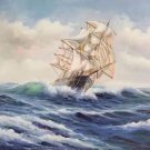 """Simple modern Hand painted oil painting on canvas""""Adventure sailboat""""50x60CM(19.7""""x23.6"""")Unframed-03"""