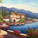 "Hand painted oil painting on canvas""Sea view Villa""60x120CM(23.6""x47.2"")Unframed-39"
