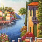 """Hand painted oil painting on canvas""""Sea view Villa""""60x120CM(23.6""""x47.2"""")Unframed-43"""