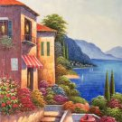"""Hand painted oil painting on canvas""""Sea view Villa""""60x120CM(23.6""""x47.2"""")Unframed-44"""