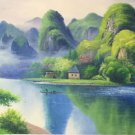 """Hand painted oil painting on canvas""""Mountain and water""""70x180CM(27.6""""x70.9"""")Unframed-58"""