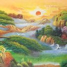 """Hand painted oil painting on canvas""""Mountain and water""""70x180CM(27.6""""x70.9"""")Unframed-59"""