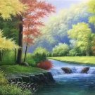 "Hand painted oil painting on canvas""Mountain and water""70x180CM(27.6""x70.9"")Unframed-62"