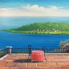 "Hand painted oil painting on canvas""Sea view Villa""70x180CM(27.6""x70.9"")Unframed-47"