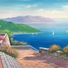 "Hand painted oil painting on canvas""Sea view Villa""70x180CM(27.6""x70.9"")Unframed-48"