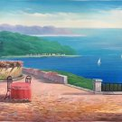 "Hand painted oil painting on canvas""Sea view Villa""70x180CM(27.6""x70.9"")Unframed-49"