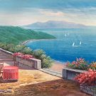 "Hand painted oil painting on canvas""Sea view Villa""70x180CM(27.6""x70.9"")Unframed-50"