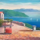 "Hand painted oil painting on canvas""Sea view Villa""70x180CM(27.6""x70.9"")Unframed-51"