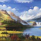 """Landscape Hand painted oil painting on canvas""""Creek""""80x200CM(31.5""""x78.7"""")Unframed-77"""