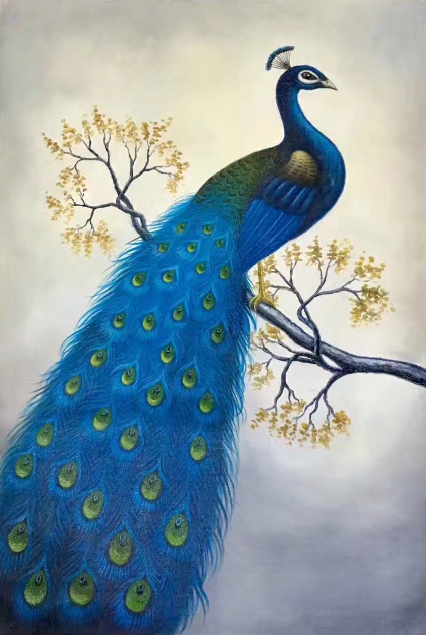 """Simple modern Hand painted oil painting on canvas""""Gorgeous peacock""""60x90CM(23.6""""x35.4"""")Unframed-12"""