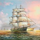 """Simple modern Hand painted oil painting on canvas""""Adventure sailboat""""60x90CM(23.6""""x35.4"""")Unframed-16"""