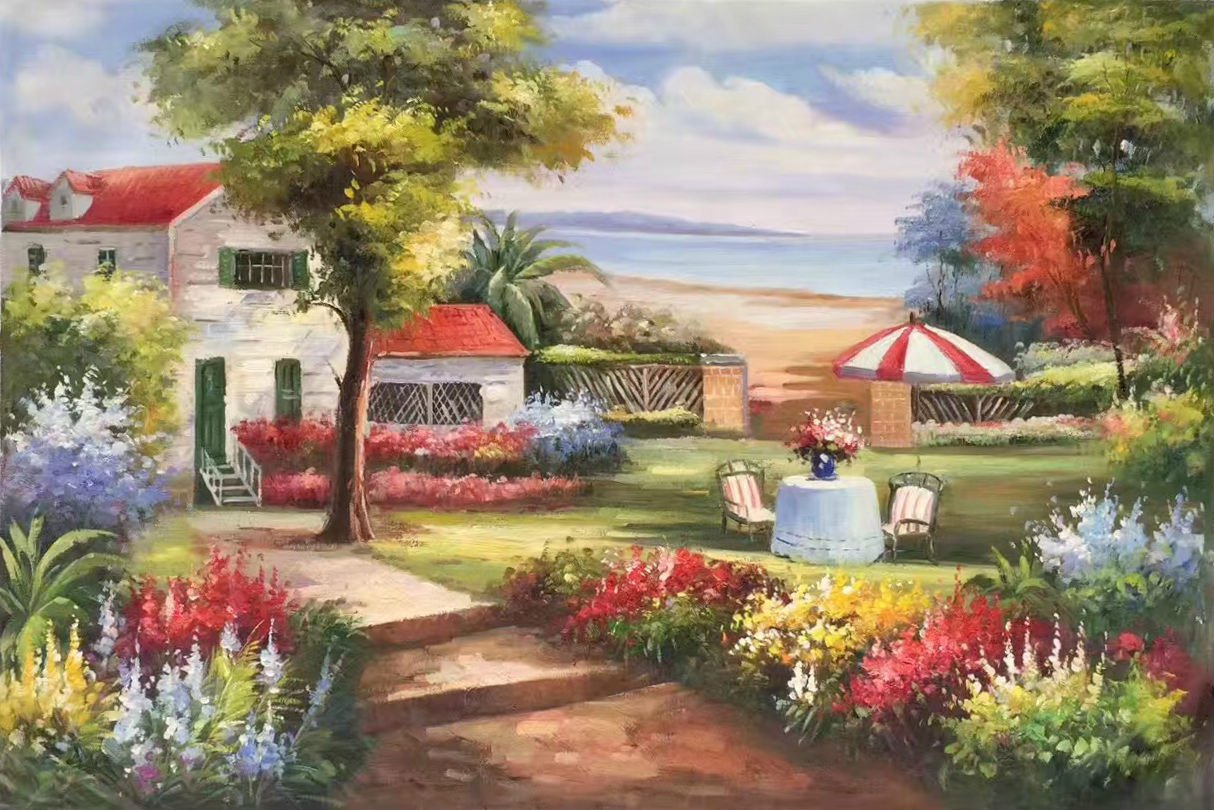 "Mediterranean Hand painted oil painting on canvas""Sea view Villa""60x90CM(23.6""x35.4"")Unframed-54"