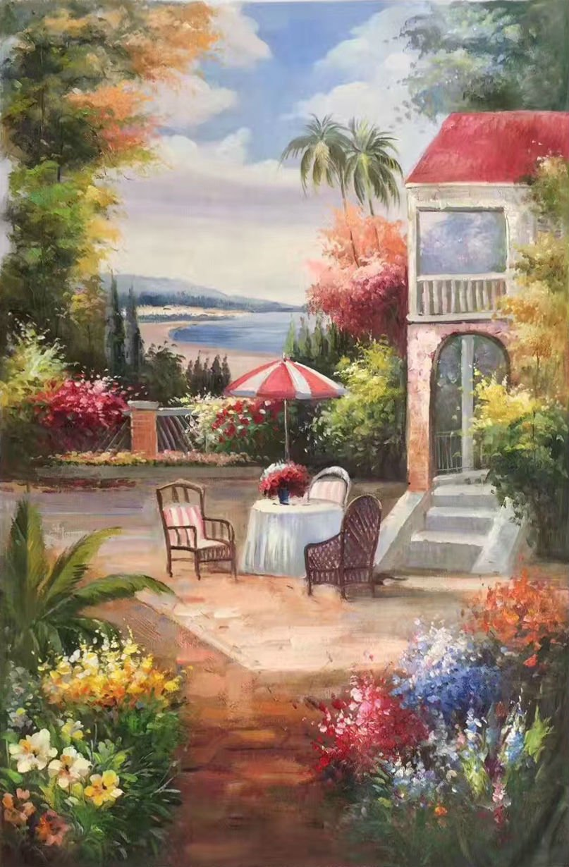 "Mediterranean Hand painted oil painting on canvas""Sea view Villa""60x90CM(23.6""x35.4"")Unframed-55"