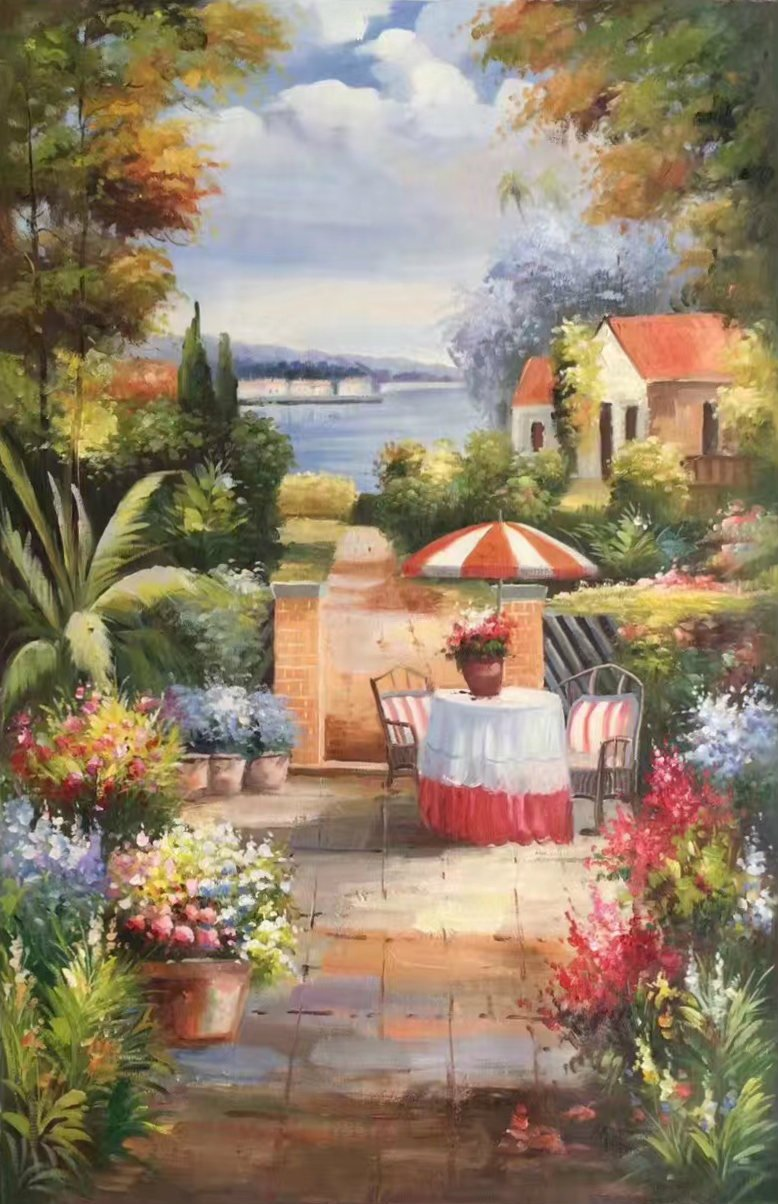 "Mediterranean Hand painted oil painting on canvas""Sea view Villa""60x90CM(23.6""x35.4"")Unframed-56"