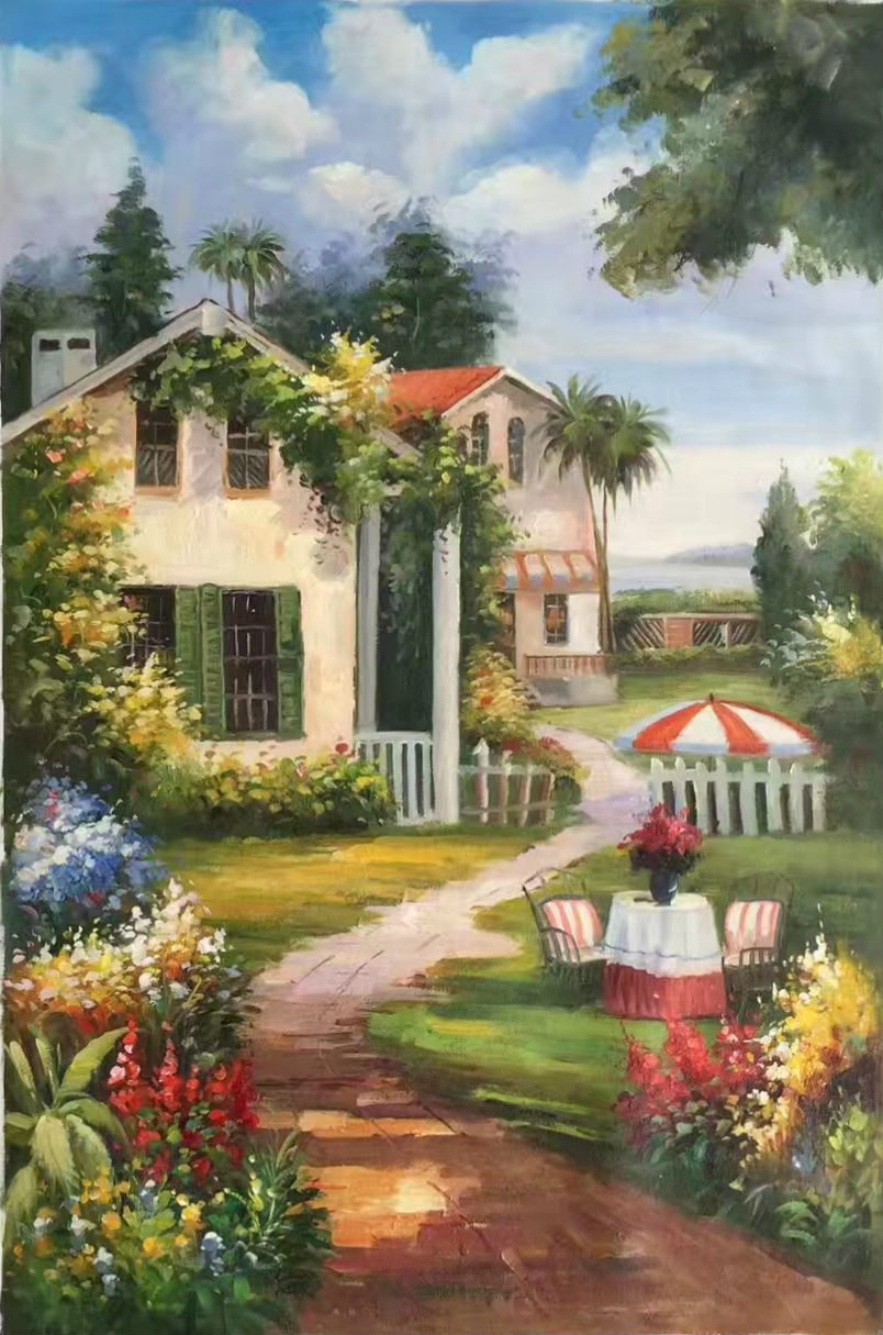 """Mediterranean Hand painted oil painting on canvas""""Sea view Villa""""60x90CM(23.6""""x35.4"""")Unframed-57"""