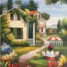 "Mediterranean Hand painted oil painting on canvas""Sea view Villa""60x90CM(23.6""x35.4"")Unframed-57"