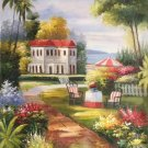 """Mediterranean Hand painted oil painting on canvas""""Sea view Villa""""60x90CM(23.6""""x35.4"""")Unframed-59"""