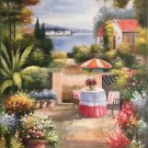 "Mediterranean Hand painted oil painting on canvas""Sea view Villa""60x90CM(23.6""x35.4"")Unframed-60"