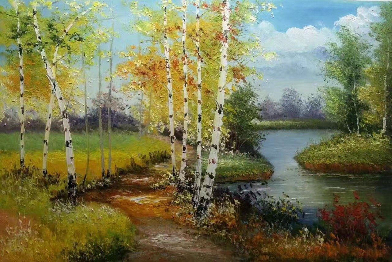 "Nordic style Hand painted oil painting on canvas""forest""60x90CM(23.6""x35.4"")Unframed-27"