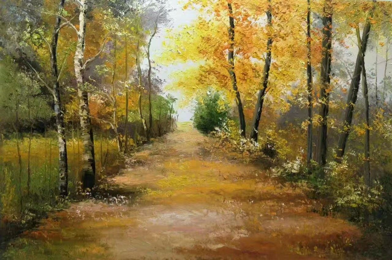 """Nordic style Hand painted oil painting on canvas""""forest""""60x90CM(23.6""""x35.4"""")Unframed-29"""
