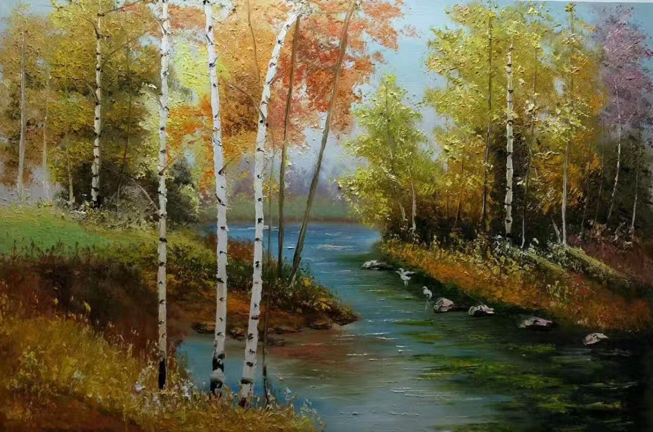 """Nordic style Hand painted oil painting on canvas""""forest""""60x90CM(23.6""""x35.4"""")Unframed-30"""