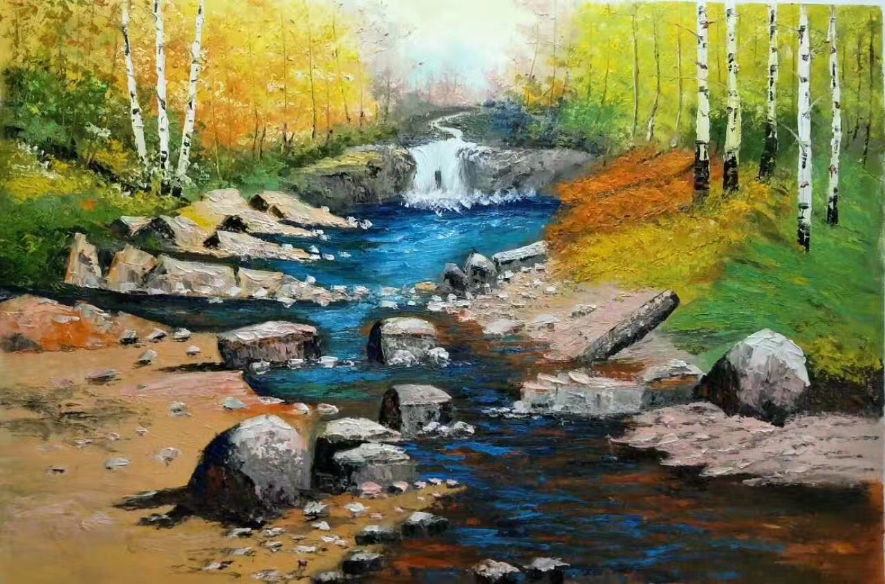 """Nordic style Hand painted oil painting on canvas""""forest""""60x90CM(23.6""""x35.4"""")Unframed-33"""