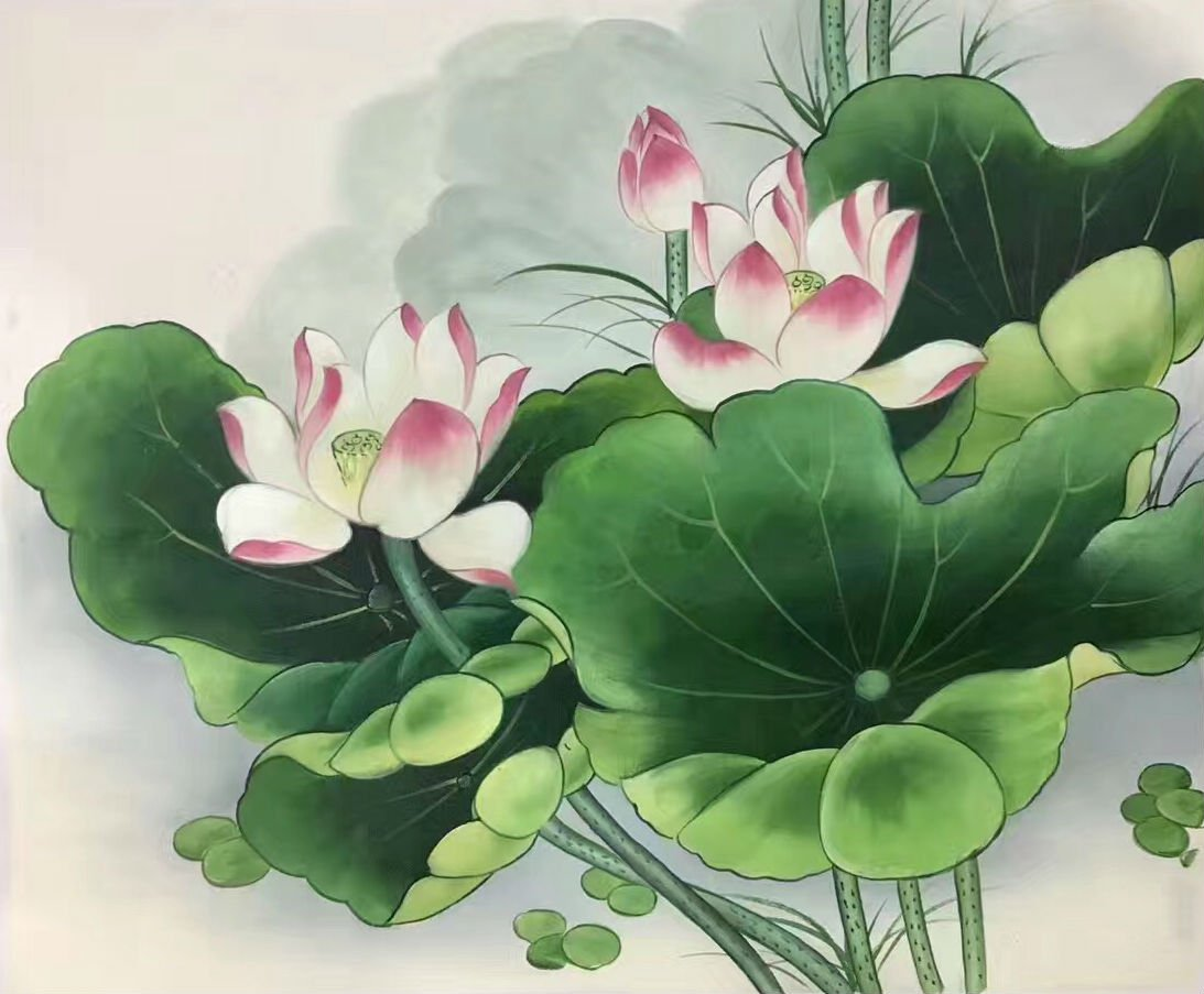 "Chinese style Hand painted oil painting on canvas""lotus""50x60CM(19.7""x23.6"") Unframed-08"