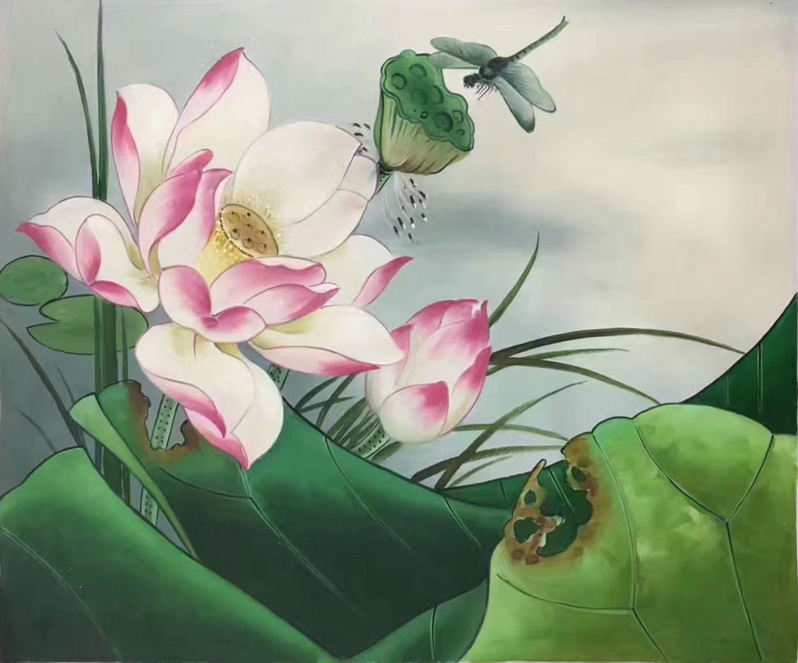 """Chinese style Hand painted oil painting on canvas""""lotus""""50x60CM(19.7""""x23.6"""")Unframed-09"""