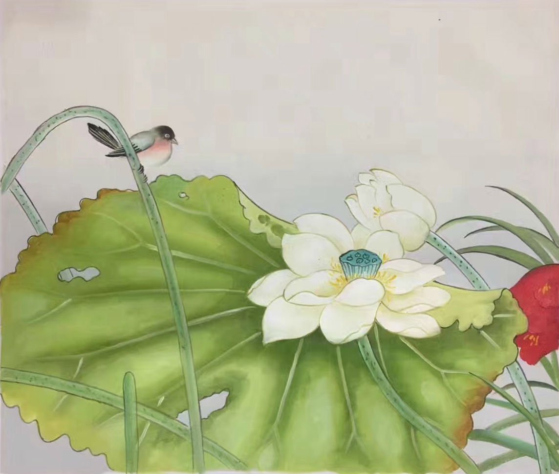 """Chinese style Hand painted oil painting on canvas""""lotus""""50x60CM(19.7""""x23.6"""")Unframed-10"""