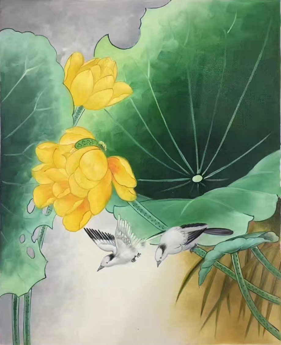 "Chinese style Hand painted oil painting on canvas""lotus""50x60CM(19.7""x23.6"") Unframed-16"